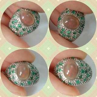 大粒火澳寶綠寶銀 925 戒指 big Fire opal emerald silver ring