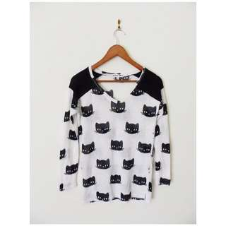 Bethany Mota Cat Knit Top