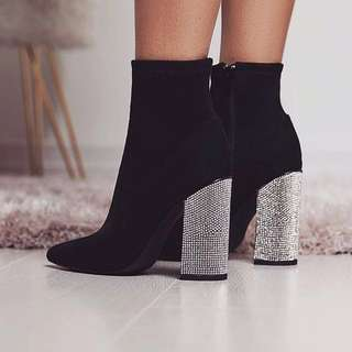 DO YOU BELIEVE IN BLING - CONTRERAS RUBY ANKLE BOOTS WITH EMBELLISHMENTS - SILVER