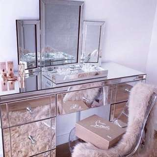 NEW IN BOX - COMPLETE VANITY UNIT - TRI MIRROR, DESK & BOUDOIR CHAIR