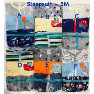 BS123- Baby Sleepsuit 3M Boy 3PCS