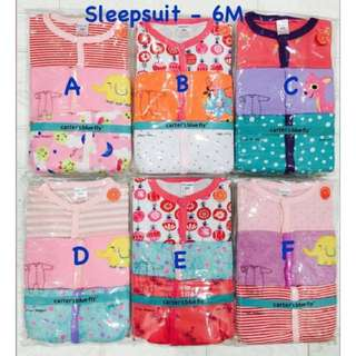 BS122 Baby Sleepsuit 6M Girl 3PCS