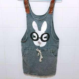 🚚 全新🔥兔子牛仔綁帶洋裝 F