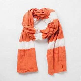 🚚 無印良品 印度棉花紋大披肩(橘)