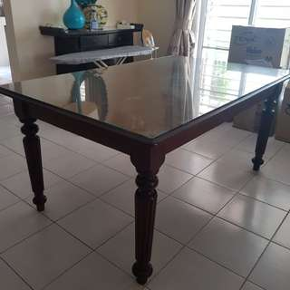 Original Antique Solid Wood Dining Table with Customised Glass Top For Protection Size 165cm L x 104cm W x  75cm H