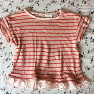 ZARA Baby Girl Orange Stripes Ruffle Top