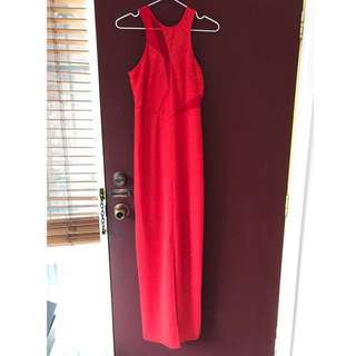 Bariano lumier red maxi dress size XS