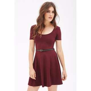 Forever 21 Burgundy Skater Dress