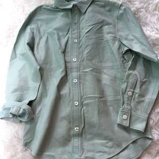 New club Monaco jade green leather oversized shirt