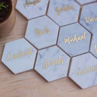 Personalised Marble Coasters / Embossed / Gifts / Christmas / Wedding place cards