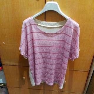 粉紅間條衫
