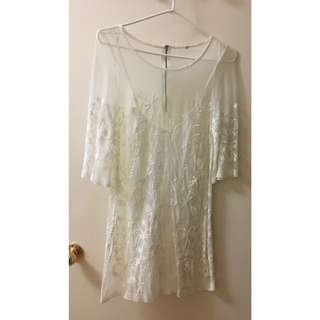 H&M white embroidered dress