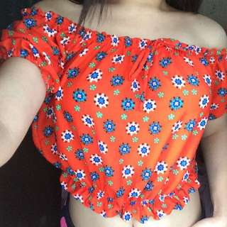Off shoulder floral orange croptop