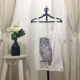 Sleeveless White Top Owl Design