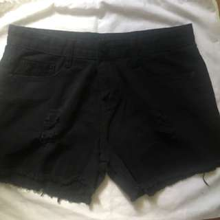 Black Tattered Denim Shorts