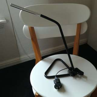 Adjustable black and chrome lamp