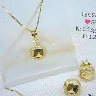 18K SPL SAUDI GOLD SET NECKLACE AND EARRINGS