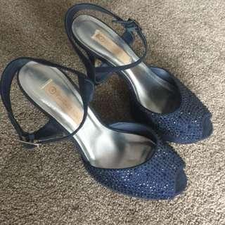 Blue diamanté heels