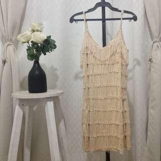 Vintage Fringe Dress Cream Small