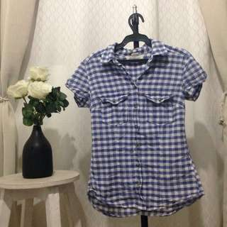H&M Checkers Top Blue Small
