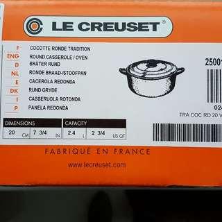 【法國 Le Creuset】新款圓形鑄鐵鍋 20cm 2.4L 火焰橘 法國製(湯鍋 燉鍋 炒鍋) 20cm