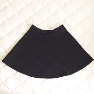 Smooth Black Skater Skirt