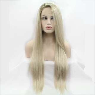 Heat Resistant Hair  Blonde Synthetic Lace Front Wig  Side Part Long Silky Straight Lace Wig Half Hand Tied