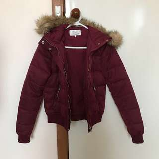 ZARA Burgundy Cropped Down Jacket / Coat