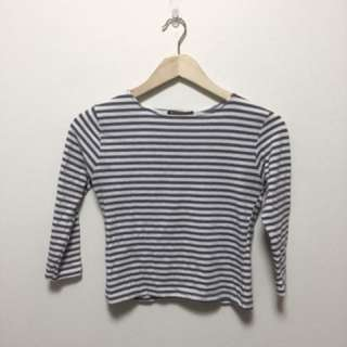 BRANDY MELVILLE blue and white striped log sleeve