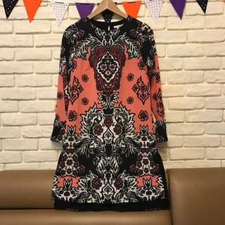 H&M民族風圖騰長版洋裝上衣(尺寸EU34/US4)