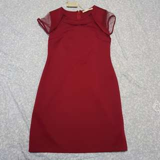 CLN red casual short dress