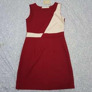 CLN red beige casual short dress