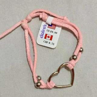Pink Heart Macramé Bracelet Claire's