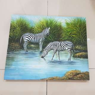 Canvas Painting of zebra, jungle, drinking water