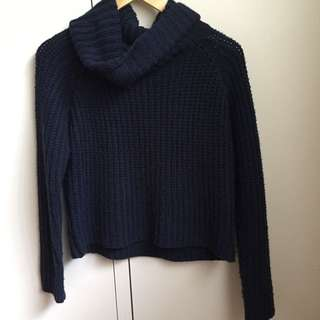navy knitted turtleneck sweater