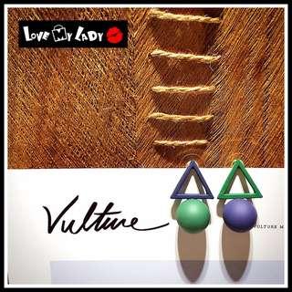 🚚 個性小積木 歐美幾何風 紫綠拼色 不對稱 空心三角形 立體球形 圓型 耳環 耳針【LoVe My LaDy】