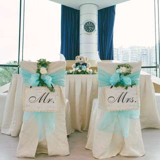 {suitcaseweddings} Rental - Mr Mrs Chair Signs & Ostrich Feather Pens