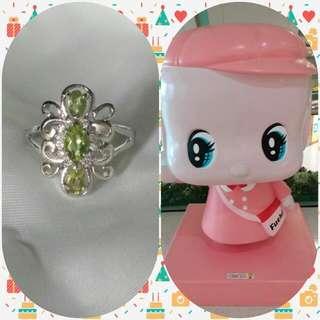 靚色橄欖石銀925 戒指 nice colour Peridot silver ring w/ cz