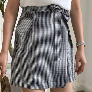 Korean Checkered Mini Tied Skirt