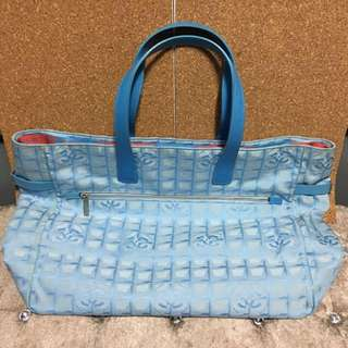 8ca97543028a68 Chanel Travel Line Light Blue Jacquard Nylon XL Tote Bag #Fast Deal $500#