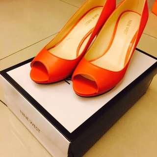 🚚 NINE WEST橘色高跟鞋👠 7、5號