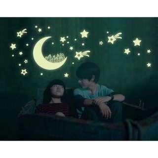 月亮星星 夜光貼 螢光貼 兒童卡通房夜光牆貼