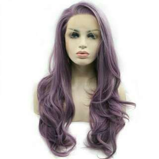 Purple Mixed Color Synthetic Lace Front Wig Heat Resistant