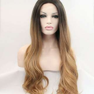 Ombre Brown Synthetic lace Front Wig Heat Resistant