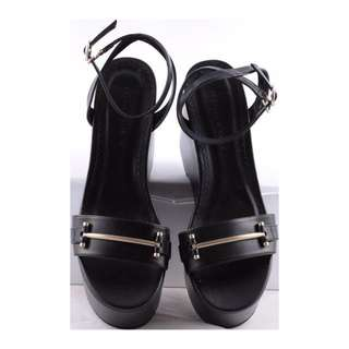 Charles & Keith Black Ankle Strap Wedges