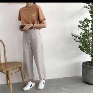 棉麻條紋高腰直筒九分寬褲