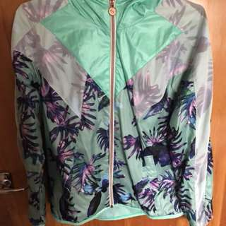 Puma Green Floral Light Jacket - Hood