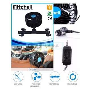 權世界@汽車用品 mitchell 4.5吋 椅背頭枕杆固定式 車用散熱渦流循環電風扇 後座專用 PD-3128