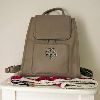 Tory Burch Britten French Gray Backpack