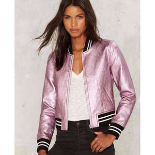 Metallic pink biker jacket